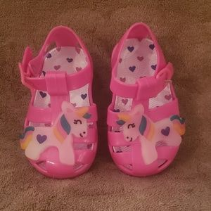 First Steps Baby Girl Pink Unicorn Jelly Sandals